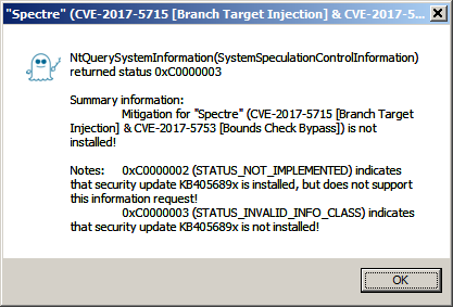 [Screenshot of BTI_RDCL.EXE without security update for 'Meltdown' (CVE-2017-5754), 'Spectre' (CVE-2017-5715, CVE-2017-5753) and 'Spectre-NG' (CVE-2018-3639, CVE-2018-3640)]