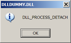 [Screenshot of DLLDUMMY.DLL loaded and executed via REGSVR32.EXE or RUNDLL32.EXE]